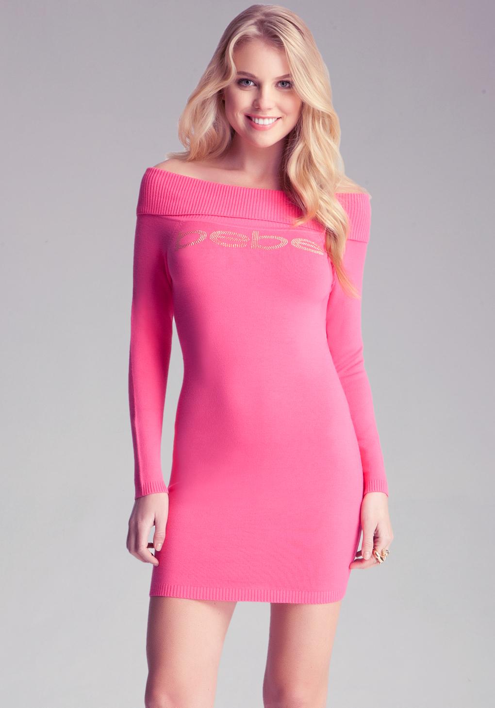 Bebe Off Shoulder Sweater Dress In Rose (Pink)