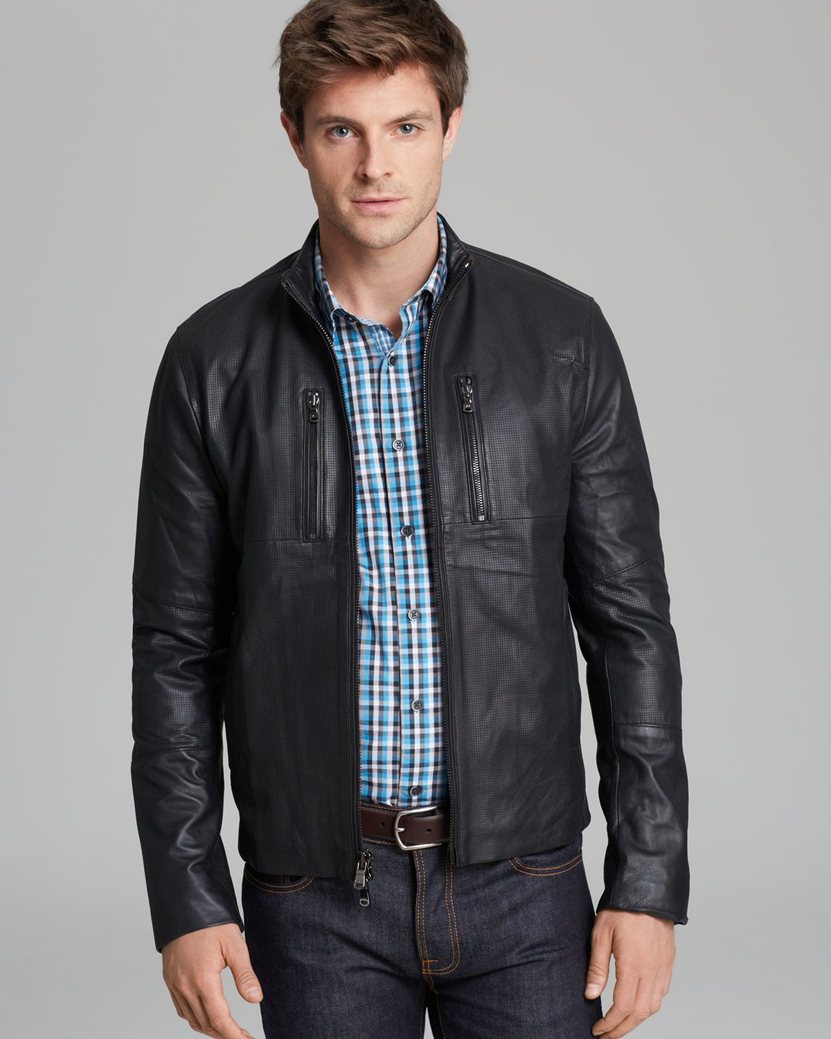 Lyst Michael Kors Perforated Leather Racer Jacket In