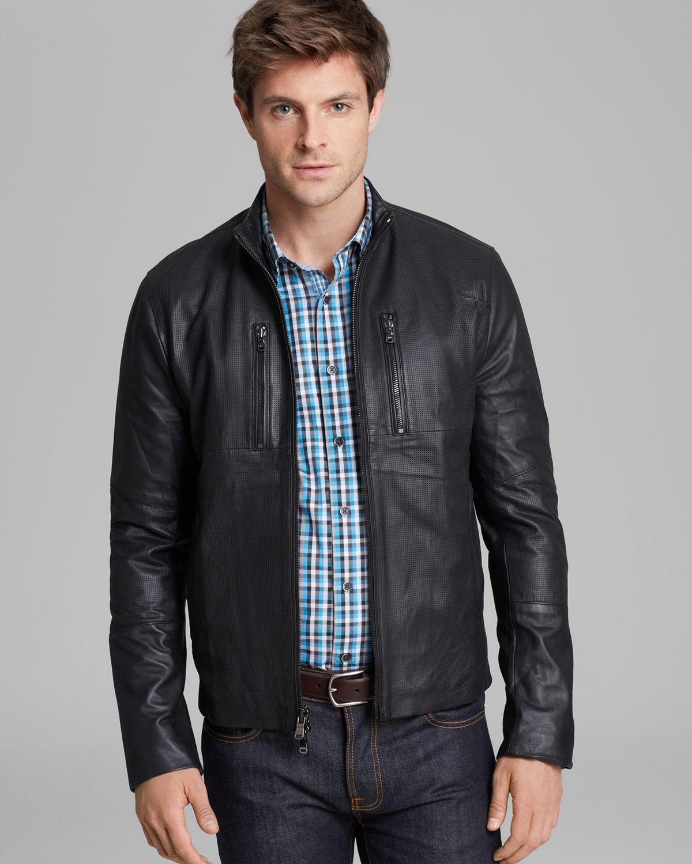 michael kors perforated leather racer jacket in black for men lyst. Black Bedroom Furniture Sets. Home Design Ideas