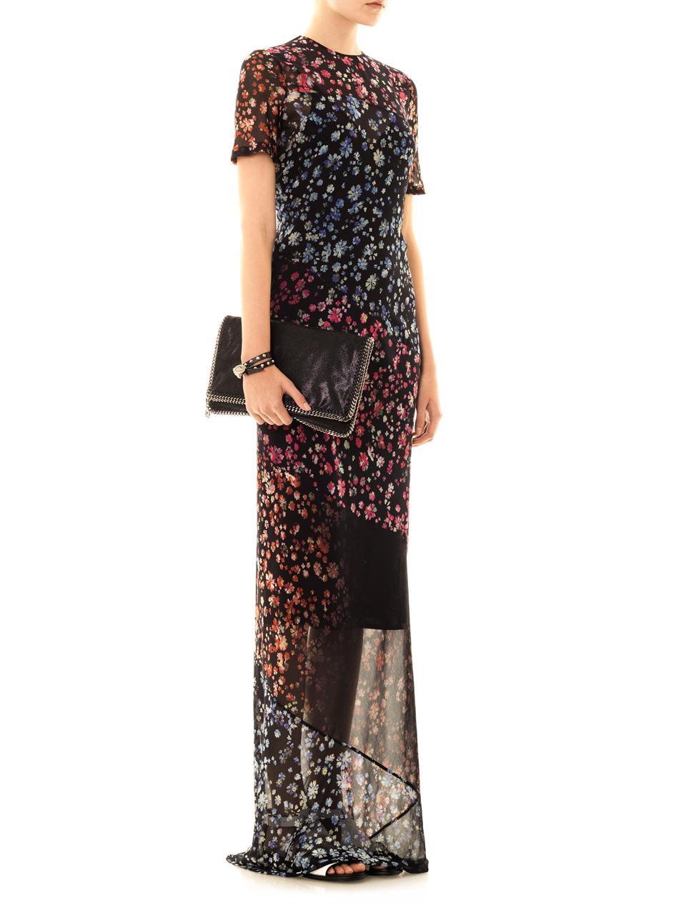 Preen By Thornton Bregazzi Elli Forget-me-not Print Maxi Dress in Black