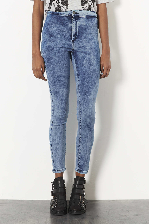 0b94d0c6c0640 TOPSHOP Petite Moto Mottled Bleach Joni Jeans in Blue - Lyst