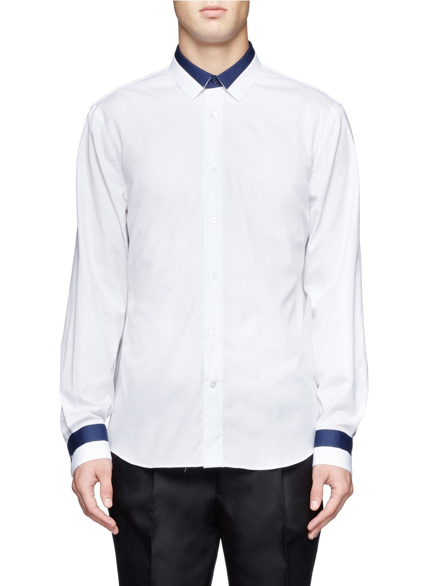 Alexander mcqueen contrast collar and cuffs cotton shirt for Mens dress shirts with contrasting collars and cuffs
