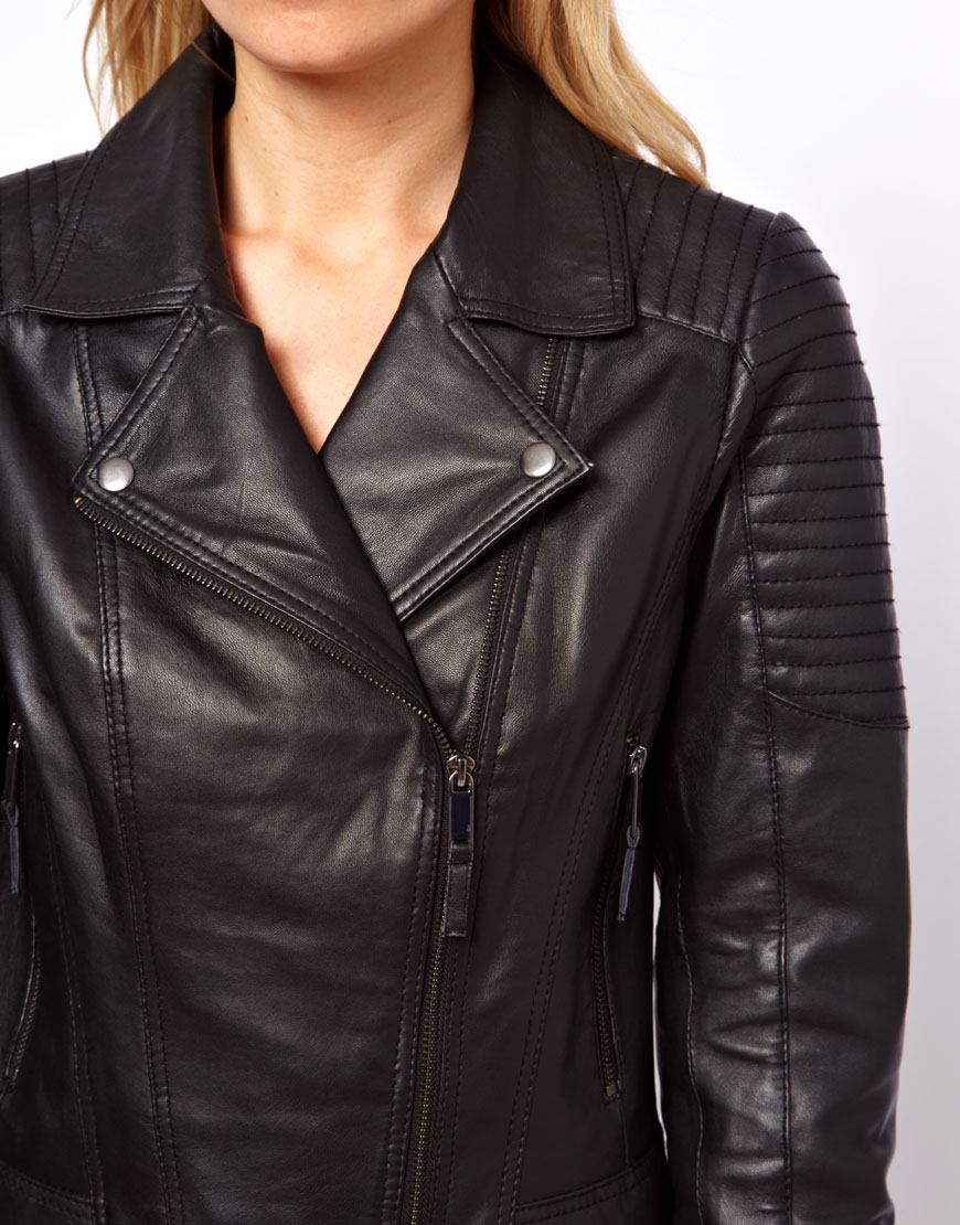 Asos Oasis Quilted Leather Jacket in Black | Lyst
