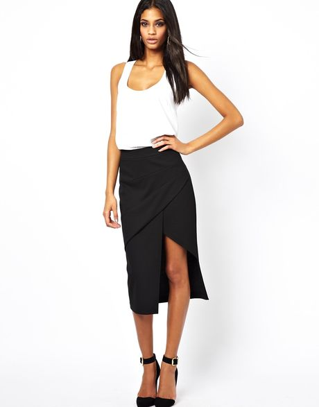 asos pencil skirt with pleat front and side split in black