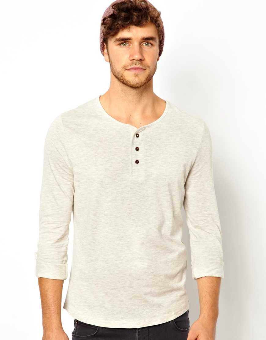 Lyst Asos Long Sleeve Henley Top In Natural For Men