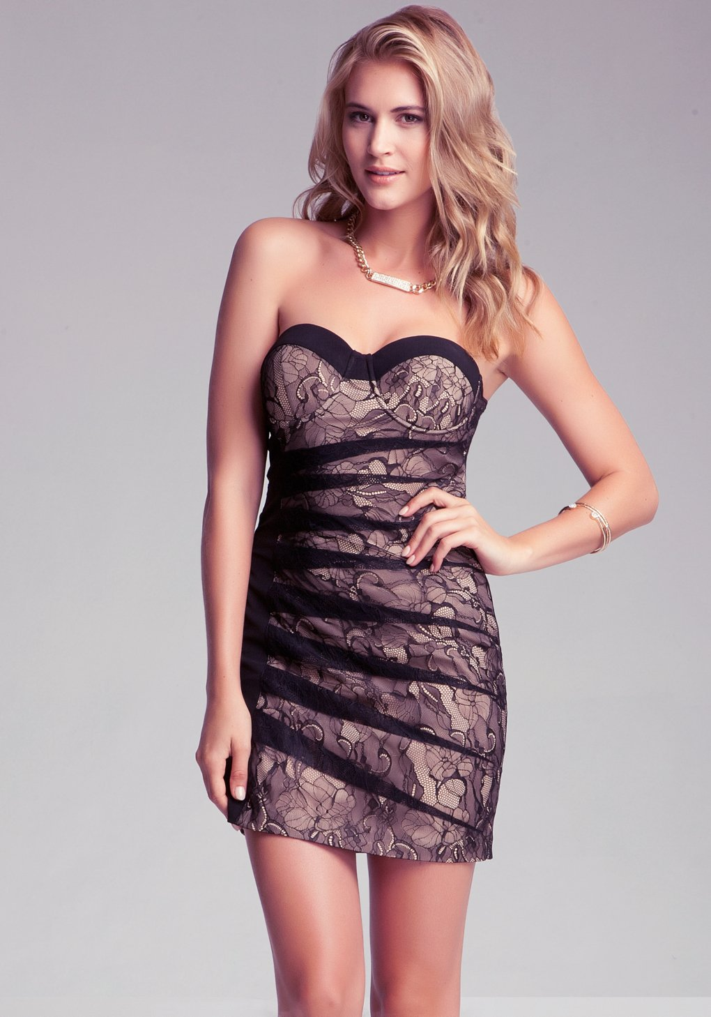 Lyst Bebe Lucy Strapless Lace Dress In Black
