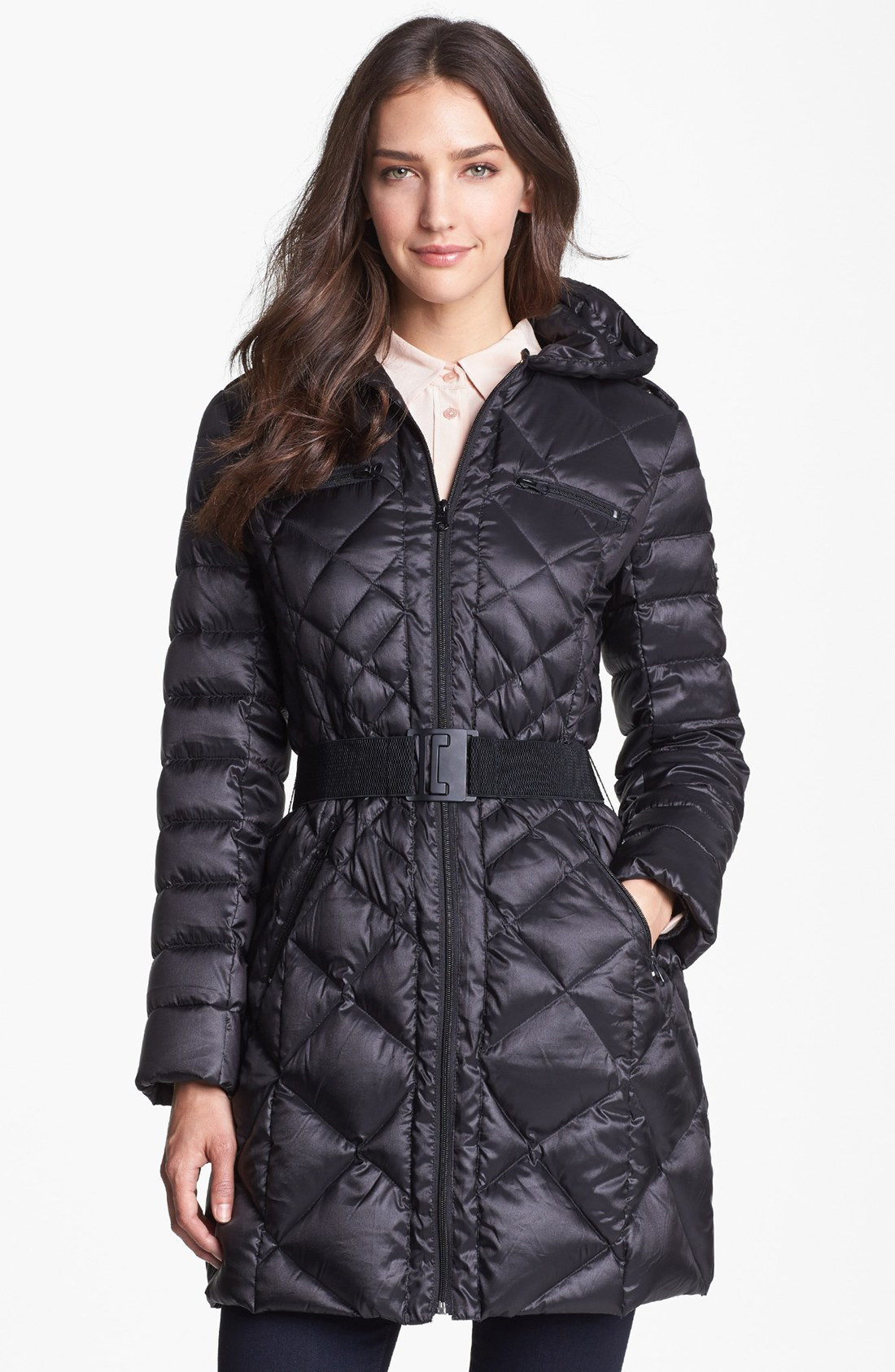 Bernardo Packable Goose Down Quilted Walker Coat In Black