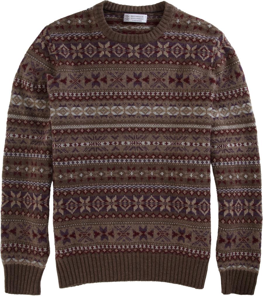 Brunello cucinelli Crewneck Fairisle Sweater in Brown for Men | Lyst
