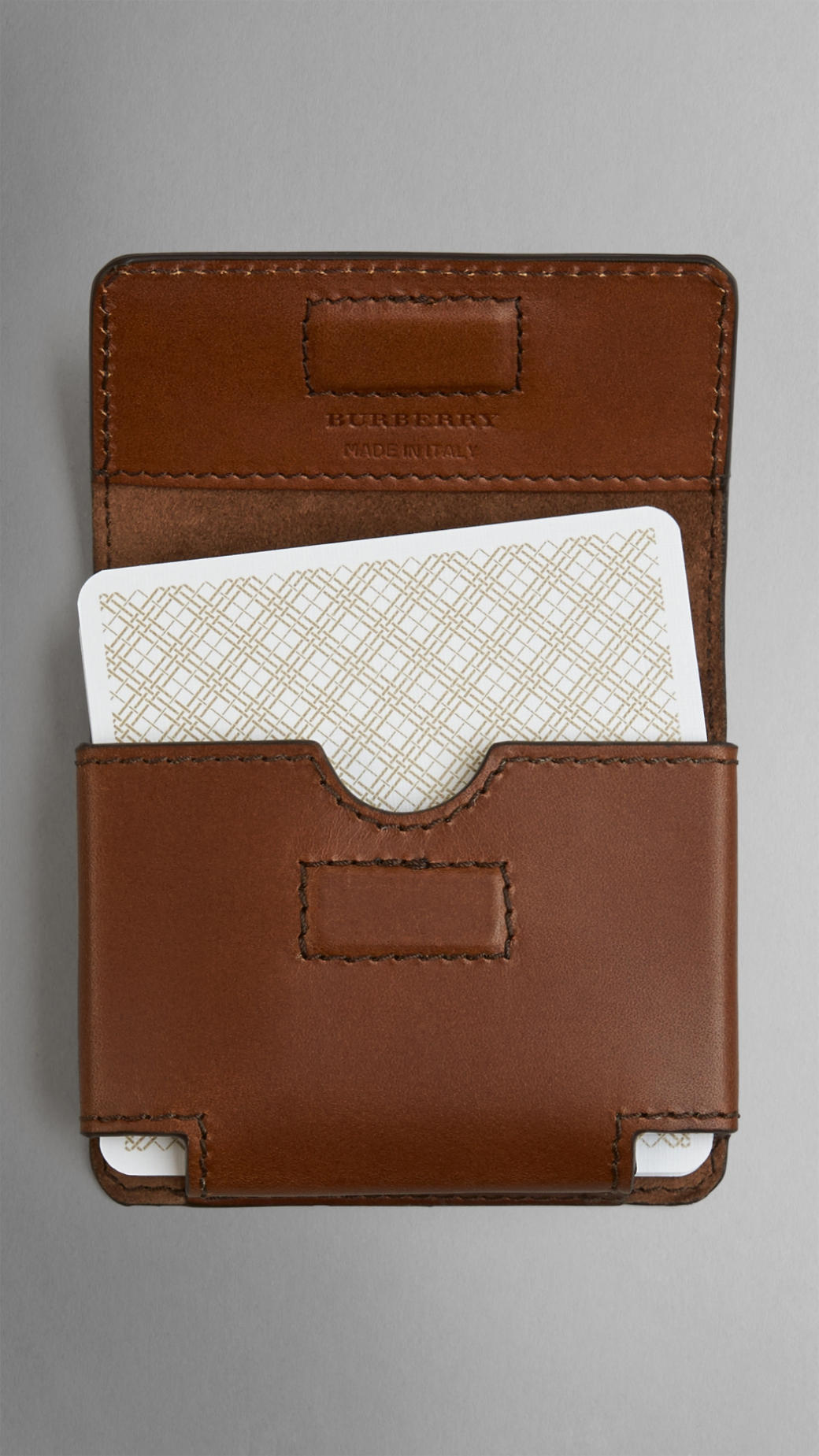 official photos 7c6f5 08a99 Burberry Brown Sartorial Leather Playing Card Case for men
