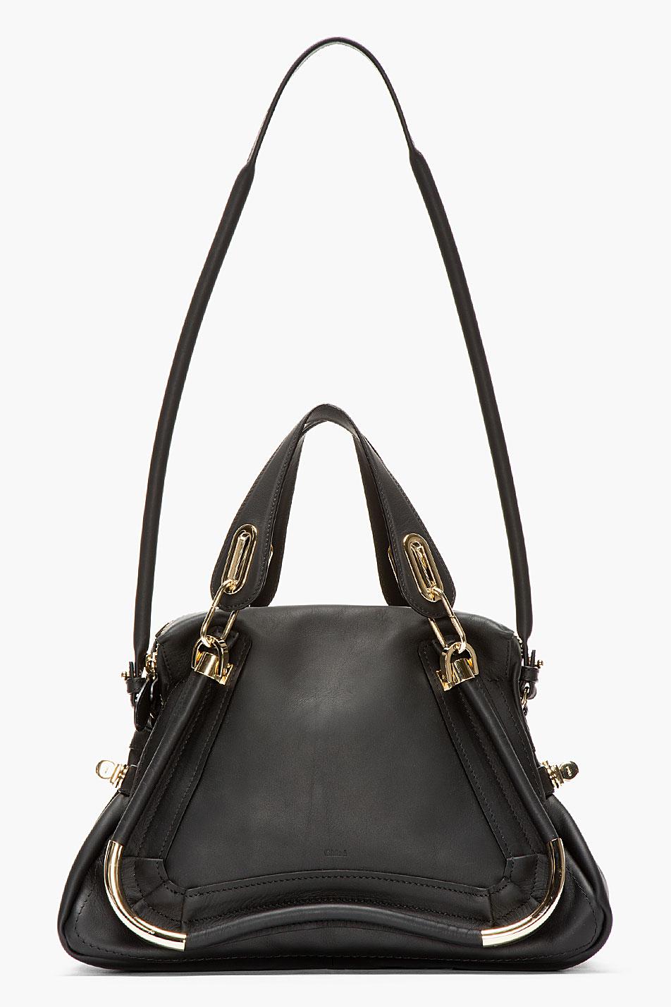 Chlo¨¦ Black Leather Medium Paraty Shoulder Bag in Black | Lyst