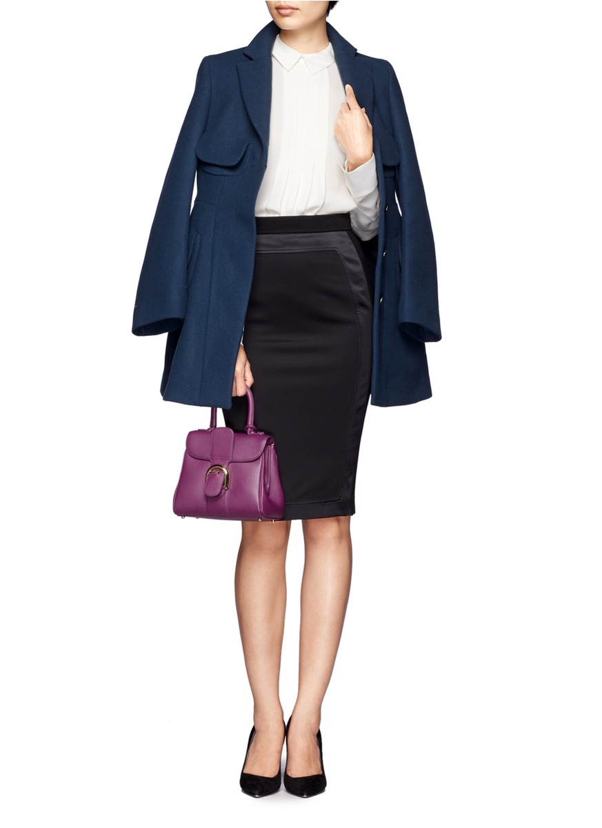 delvaux brilliant mini box leather shoulder bag in purple