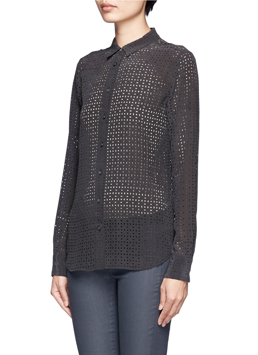 Lyst equipment audrey perforated silk shirt in black for Equipment black silk shirt