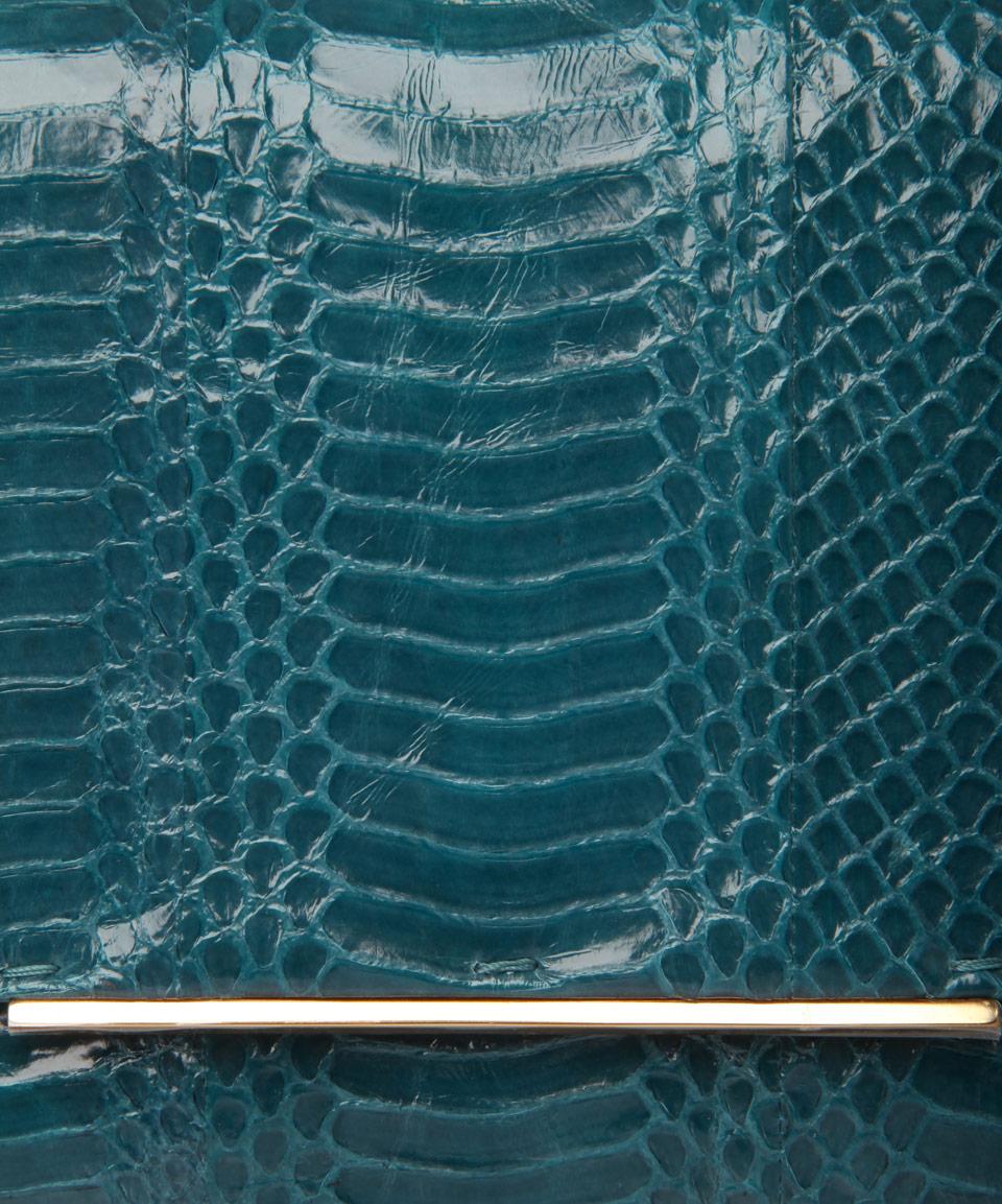 Lanvin Turquoise Snakeskin Clutch Bag in Blue - Lyst