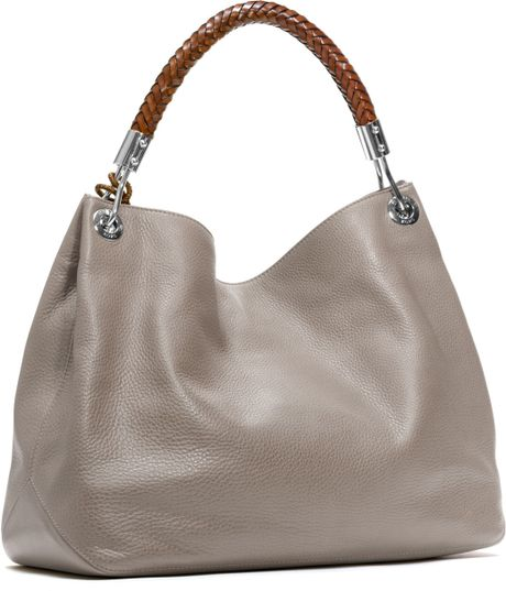 Italy Michael Kors Skorpios Shoulder - Bags Michael Kors Large Skorpios Shoulder Bag Pearl Grey 1