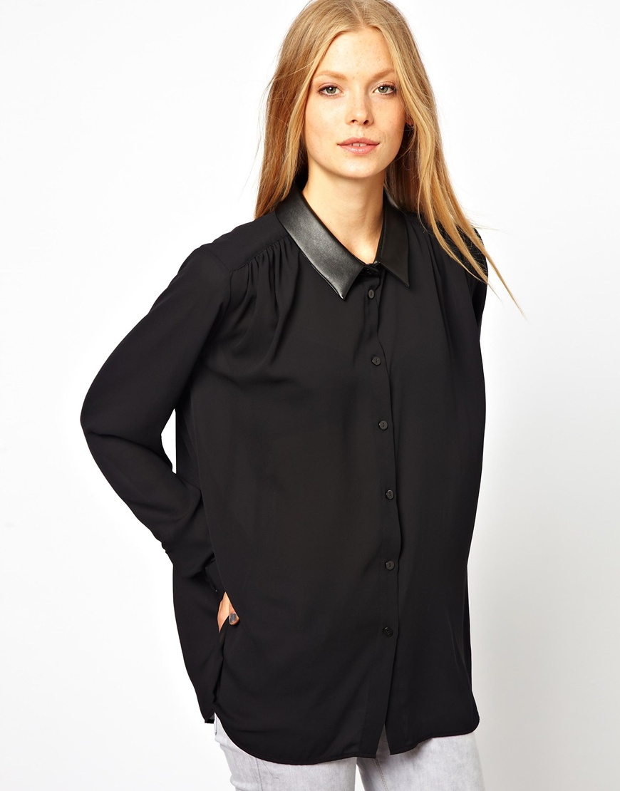 0e07a7aabc488 Lyst - ASOS Sheer Blouse with Leather Look Collar in Black