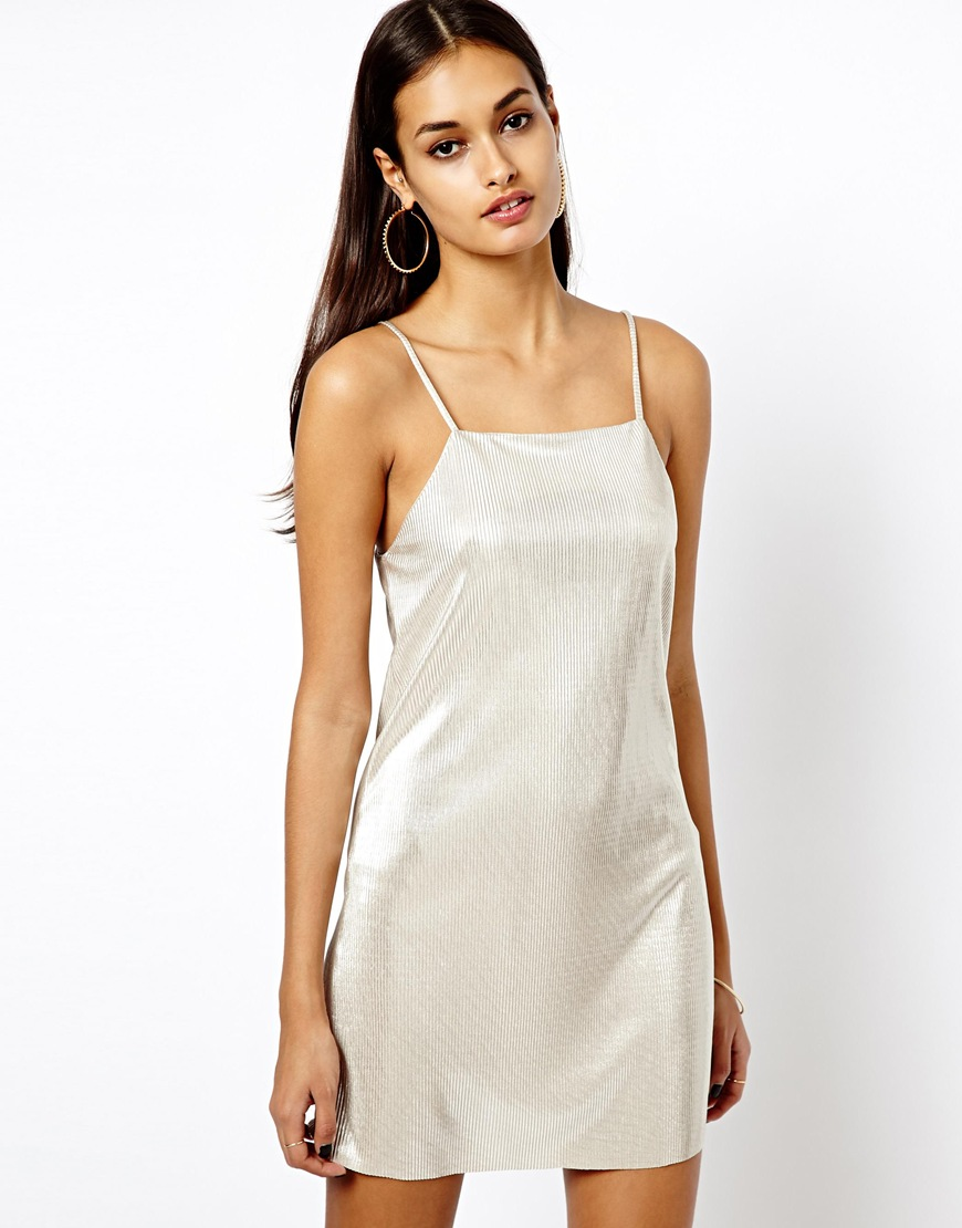 Lyst - Oh My Love Metallic Cami Slip Dress in Metallic