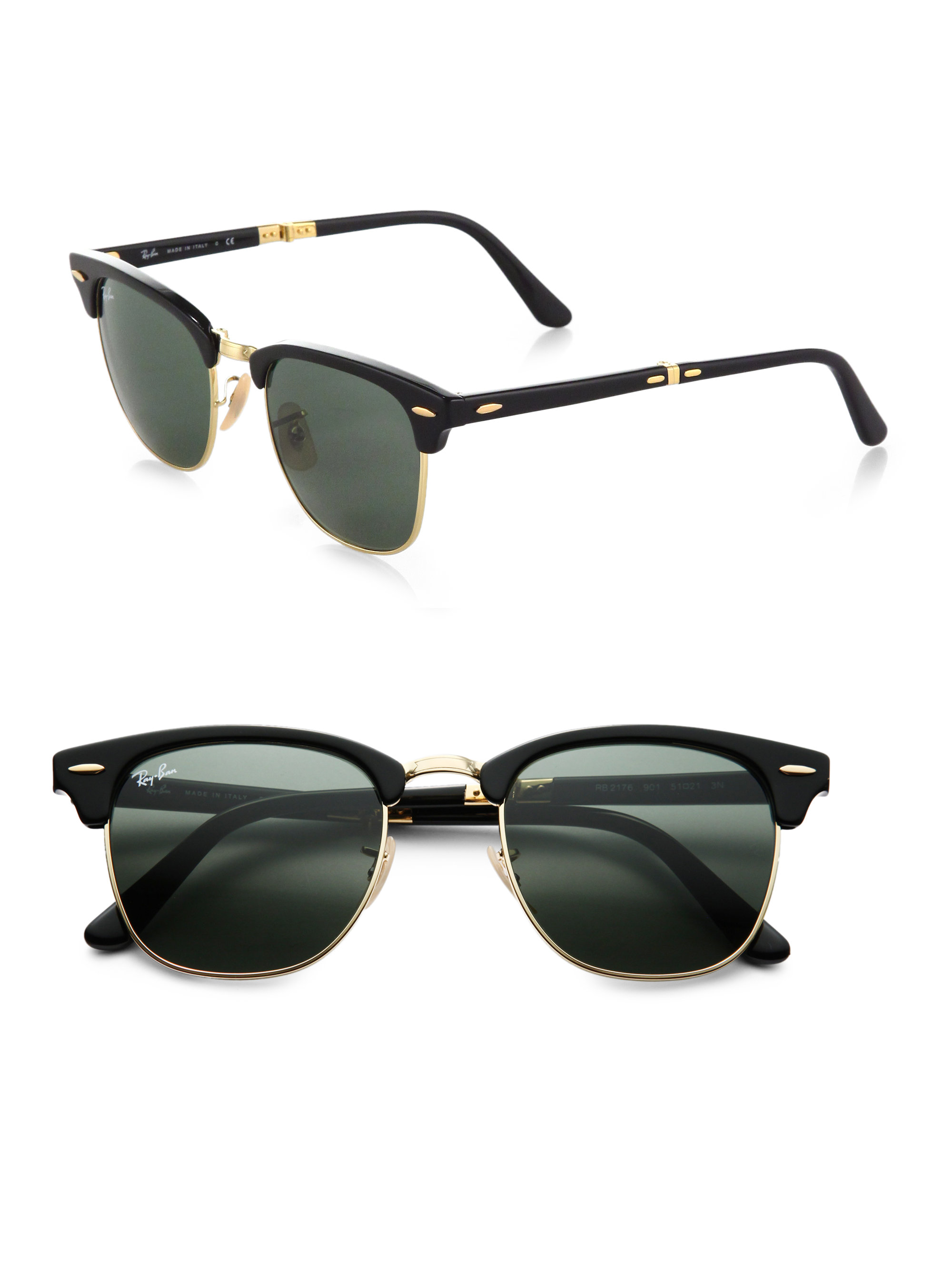 1c045b5d294 Lyst - Ray-Ban Folding Clubmaster Sunglasses in Black