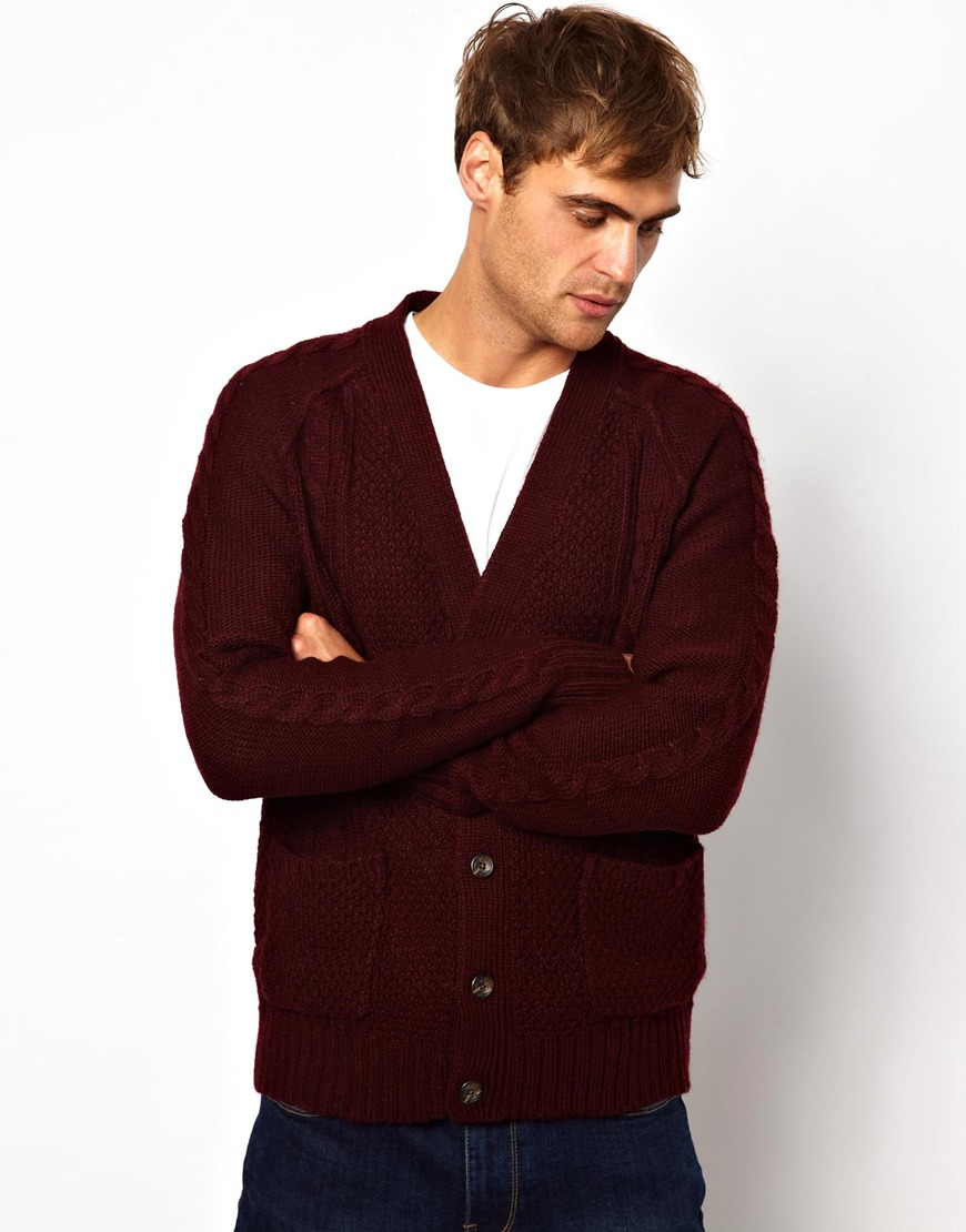 fb902bb6df Lyst - True Religion Cable Cardigan in Red in Purple for Men