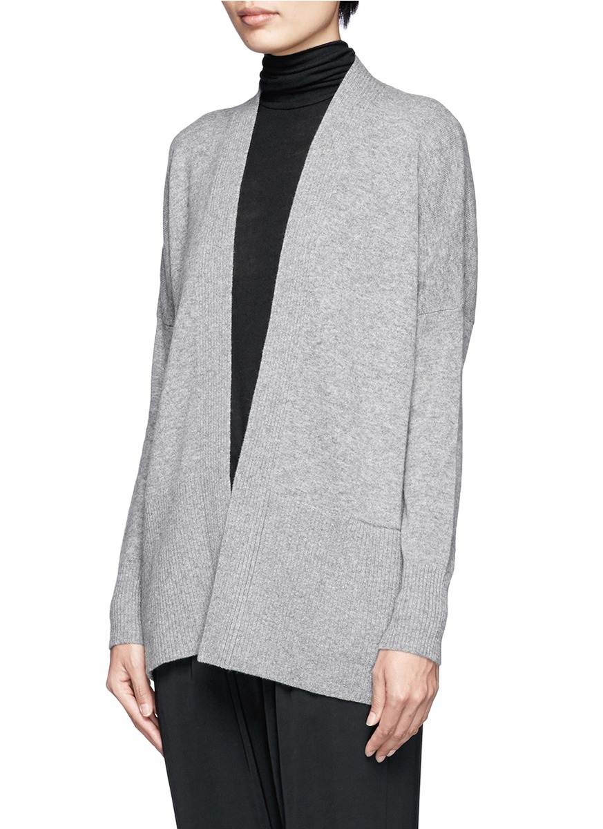 Vince Ribbed Open Front Cashmere Cardigan in Gray
