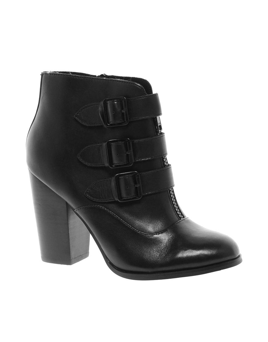aldo kaligenia block heeled ankle boots in black lyst