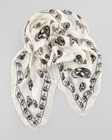 mcqueen mens skull print chiffon scarf in white