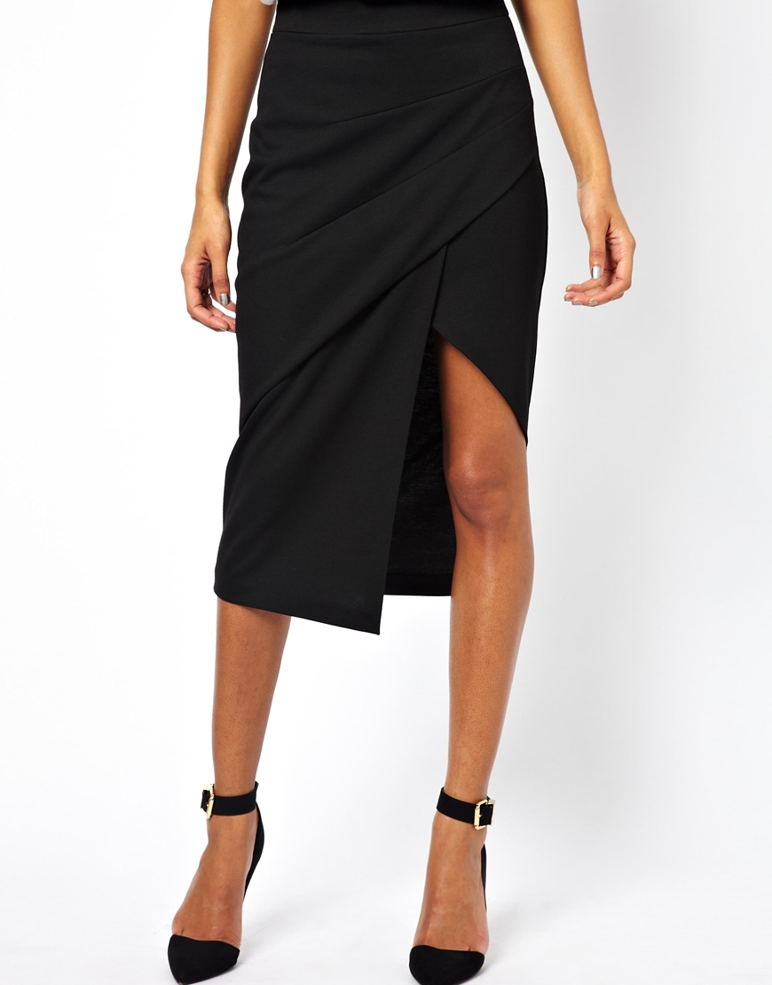 32deaaade ASOS Pencil Skirt with Pleat Front and Side Split in Black - Lyst