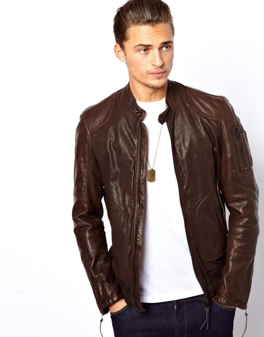 Lyst - Asos Replay Leather Bomber Jacket in Brown for Men