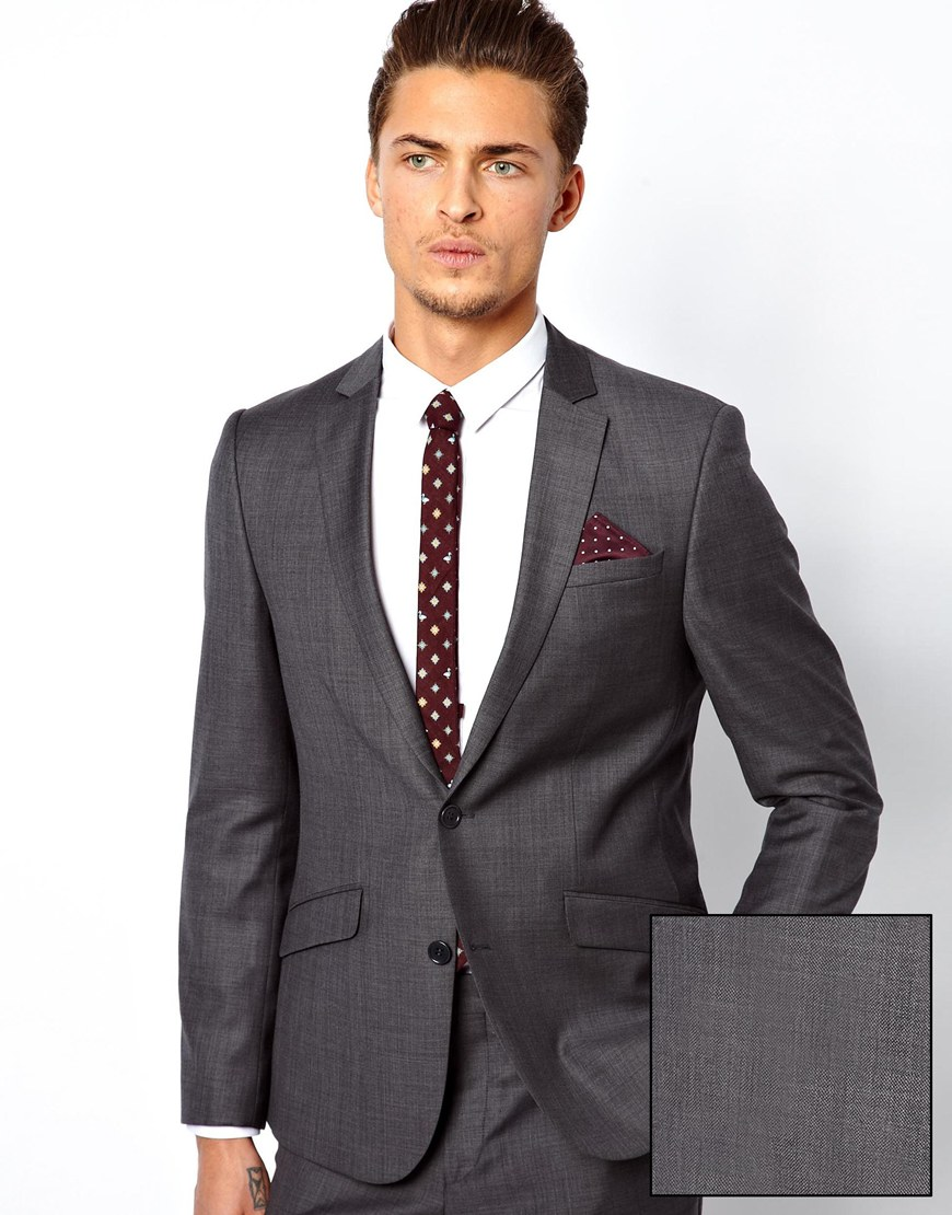Asos Slim Fit Suit Jacket In 100% Wool in Gray for Men | Lyst
