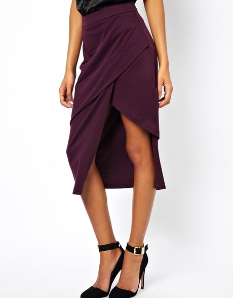 asos pencil skirt with pleat front and side split in