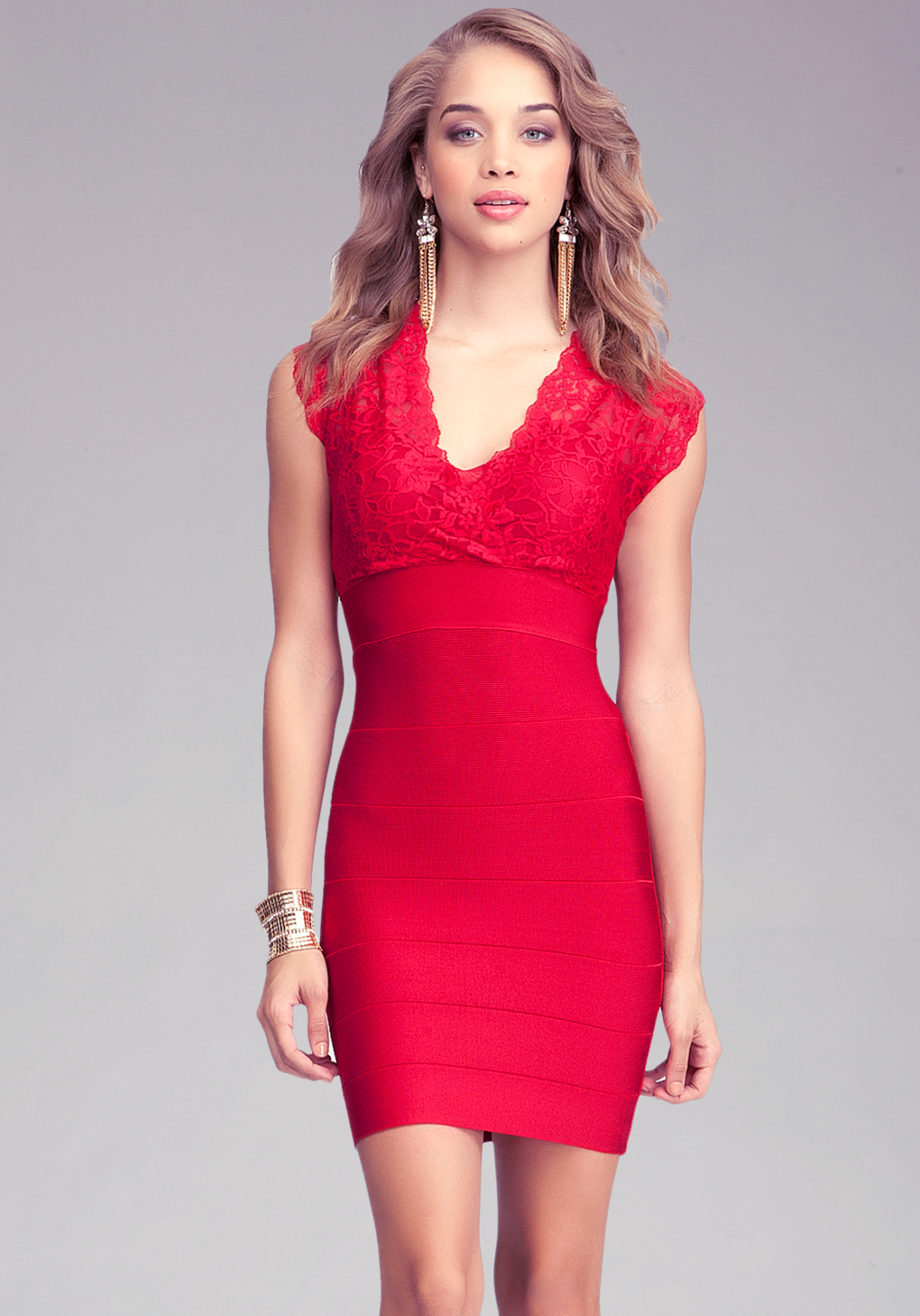 Bebe Cutout Lace Bandage Dress In Crimson Red Lyst