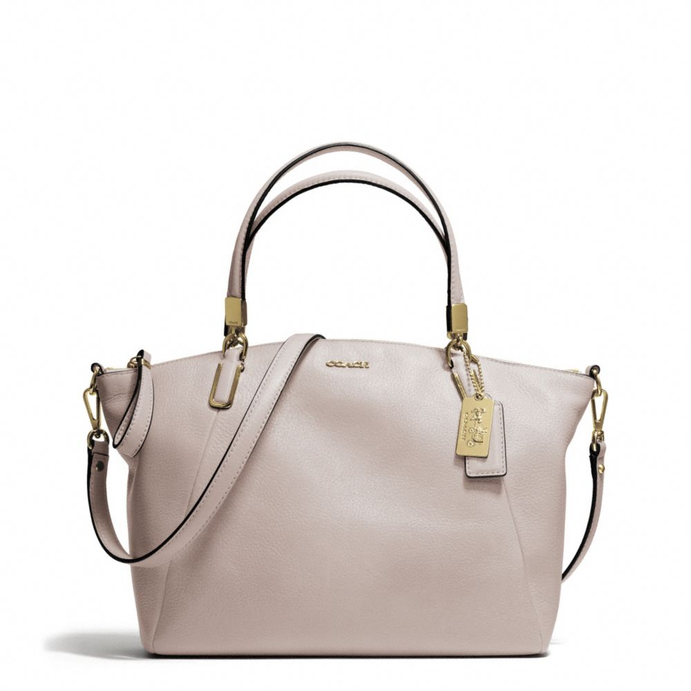 Coach Madison Small Kelsey Satchel in Leather in Natural ...