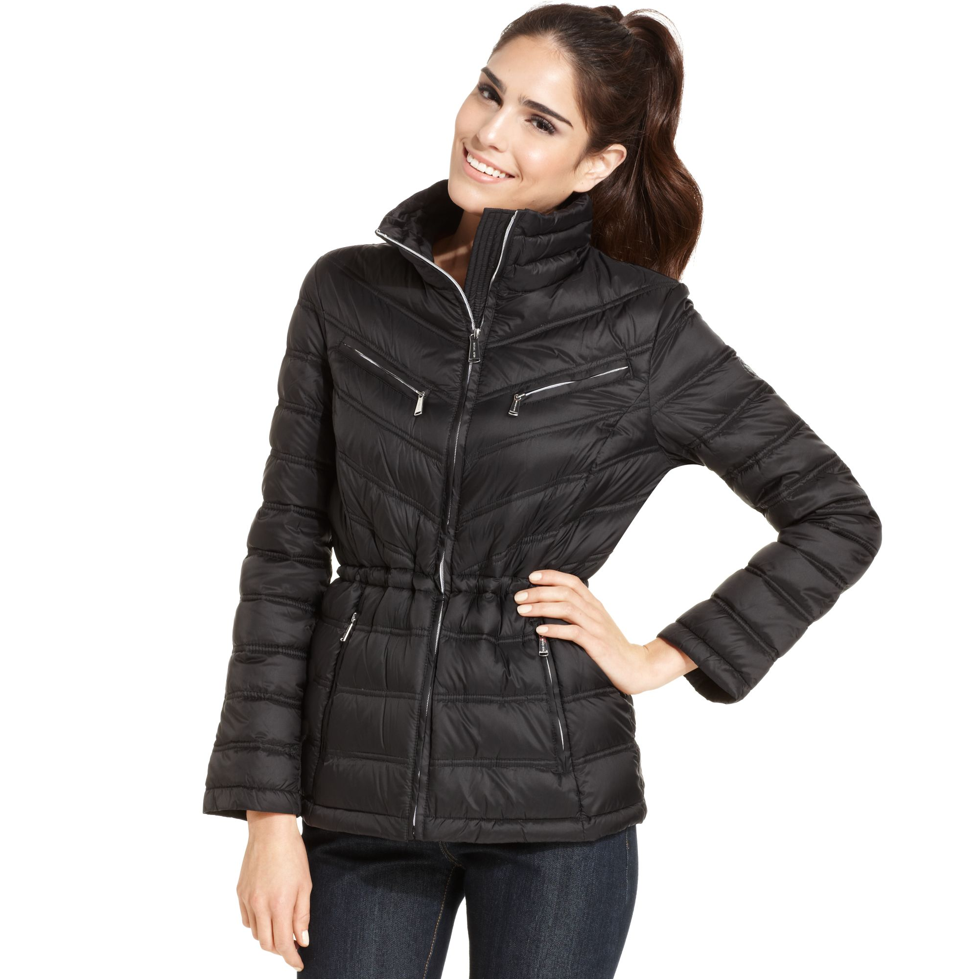 michael kors michael packable quilted puffer coat in black. Black Bedroom Furniture Sets. Home Design Ideas