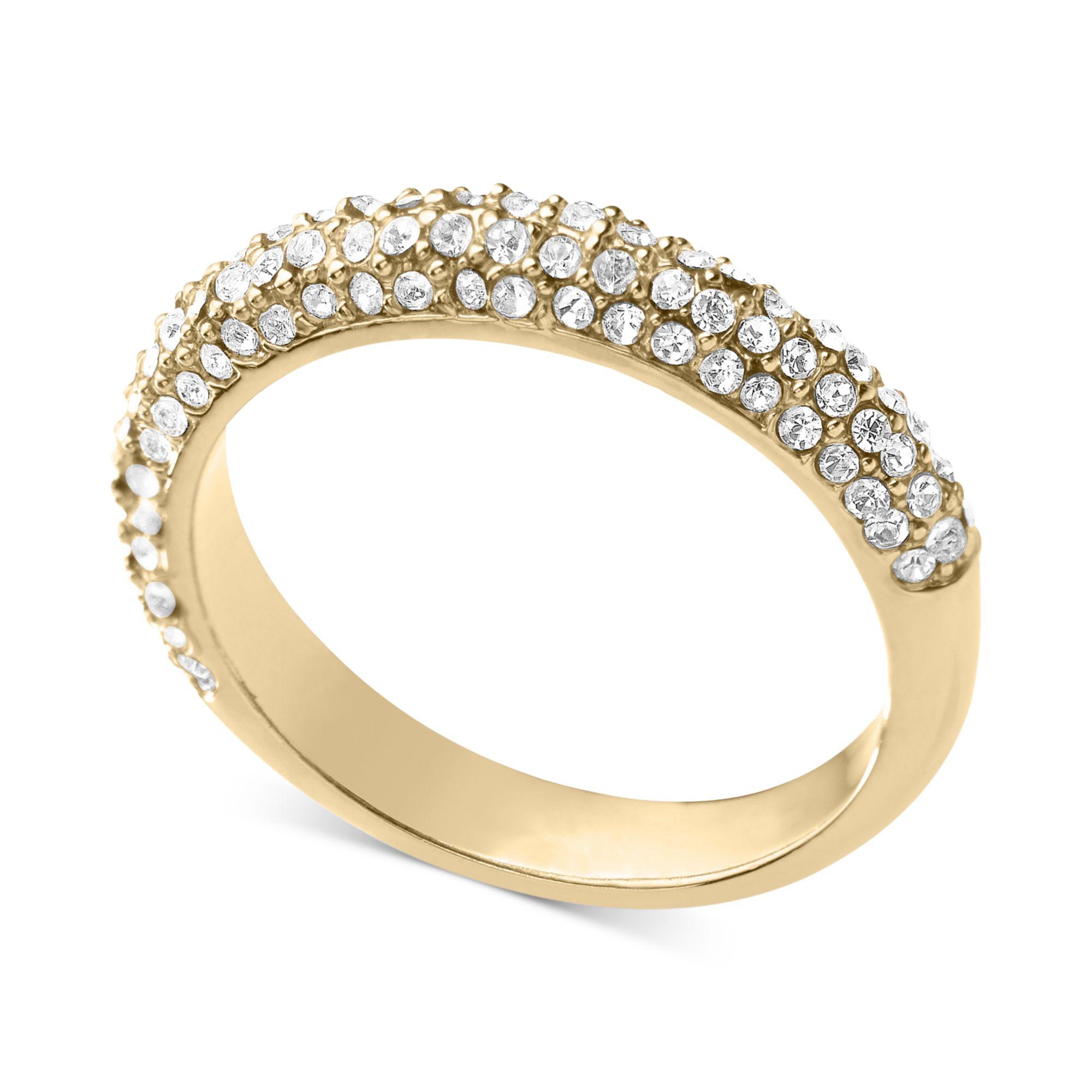 michael kors goldtone crystal band ring in gold no color. Black Bedroom Furniture Sets. Home Design Ideas