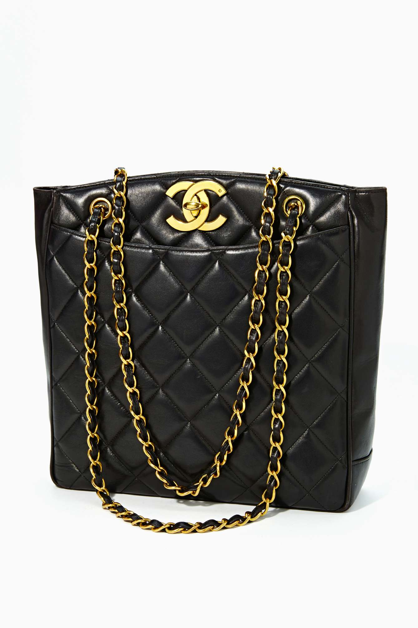 Lyst - Nasty Gal Vintage Quilted Chanel Black Leather Tote Sold Out ... d9dbca3d6f