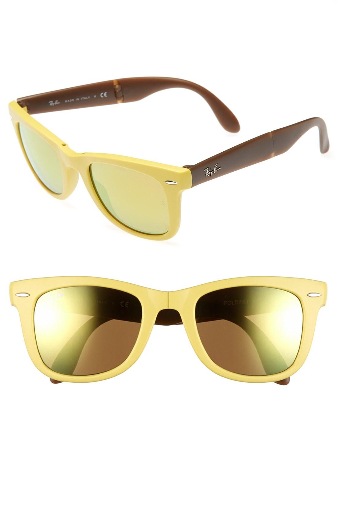 ray ban folding wayfarer 50mm sunglasses in khaki matte yellow lyst. Black Bedroom Furniture Sets. Home Design Ideas