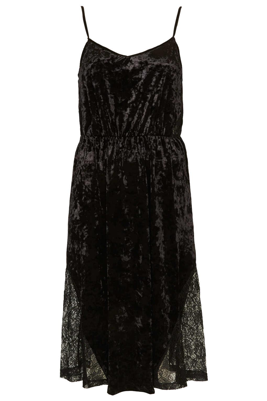 Topshop Velvet Lace Midi Slip Dress in Black