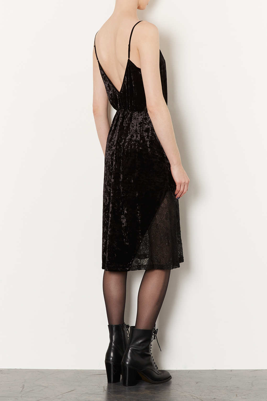 3491f46134e TOPSHOP Velvet Lace Midi Slip Dress in Black - Lyst