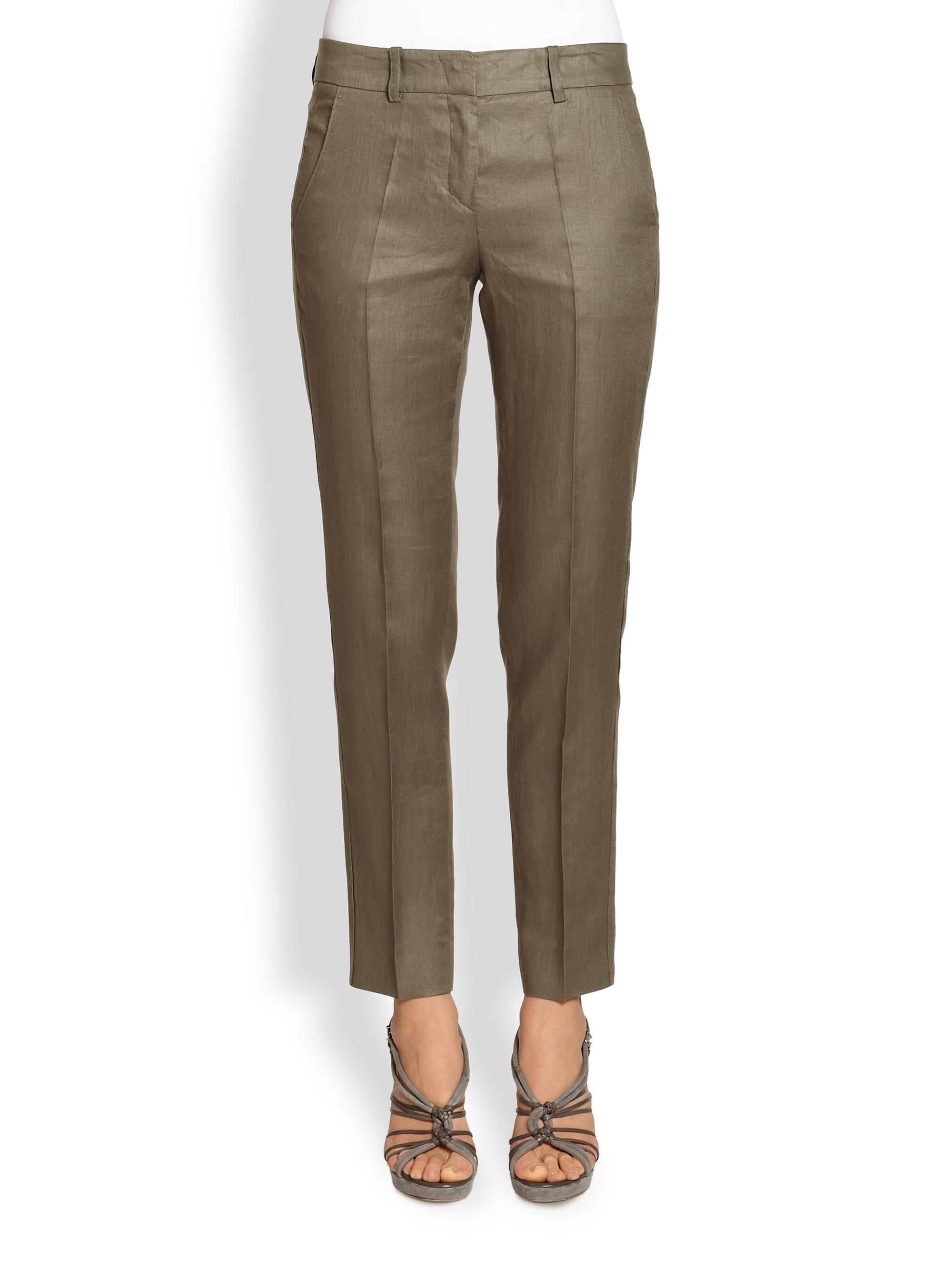 Armani Slim Linen Pants in Natural | Lyst