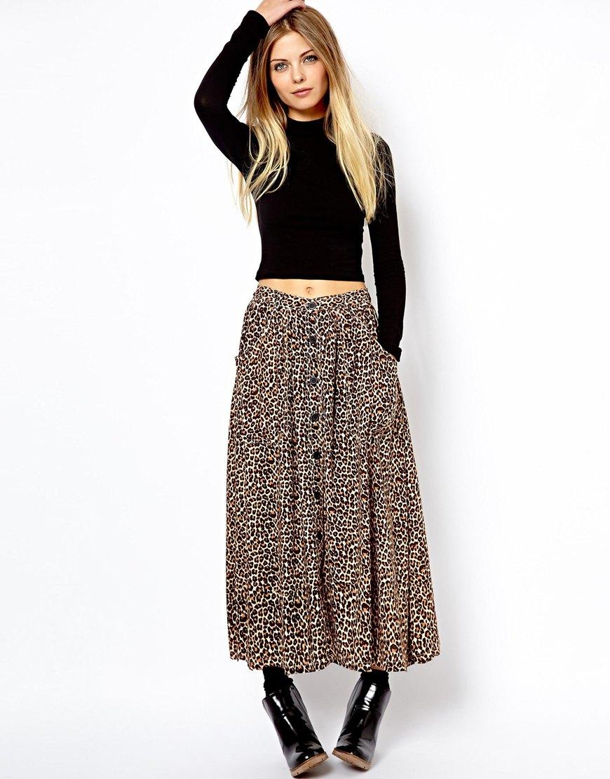 asos curve american apparel leopard print maxi skirt in