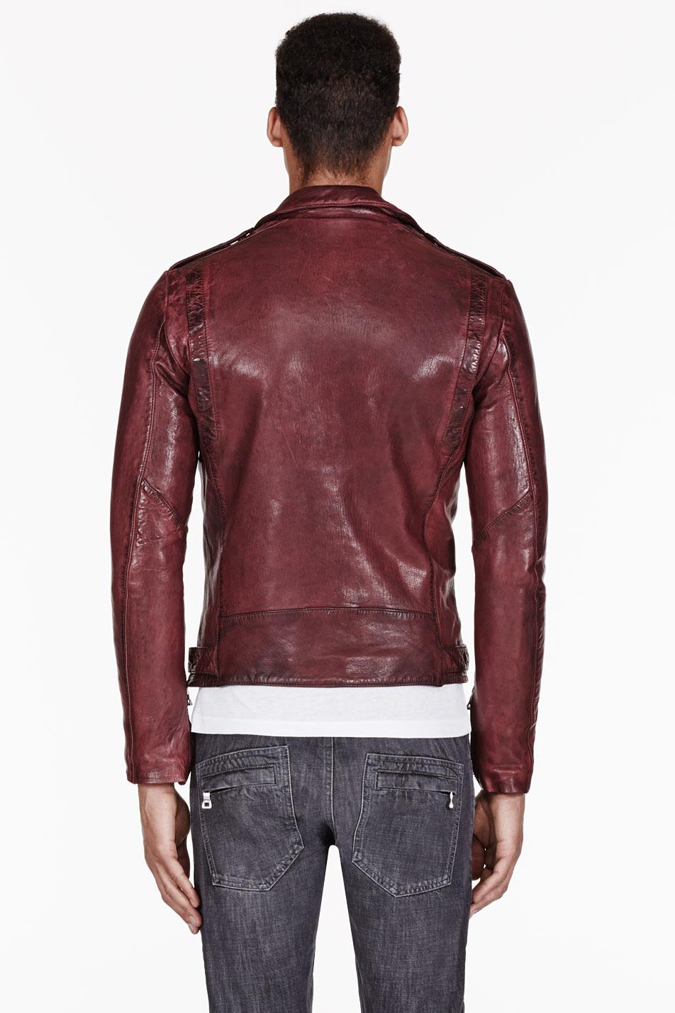 Balmain Burgundy Leather Biker Jacket In Red For Men Lyst