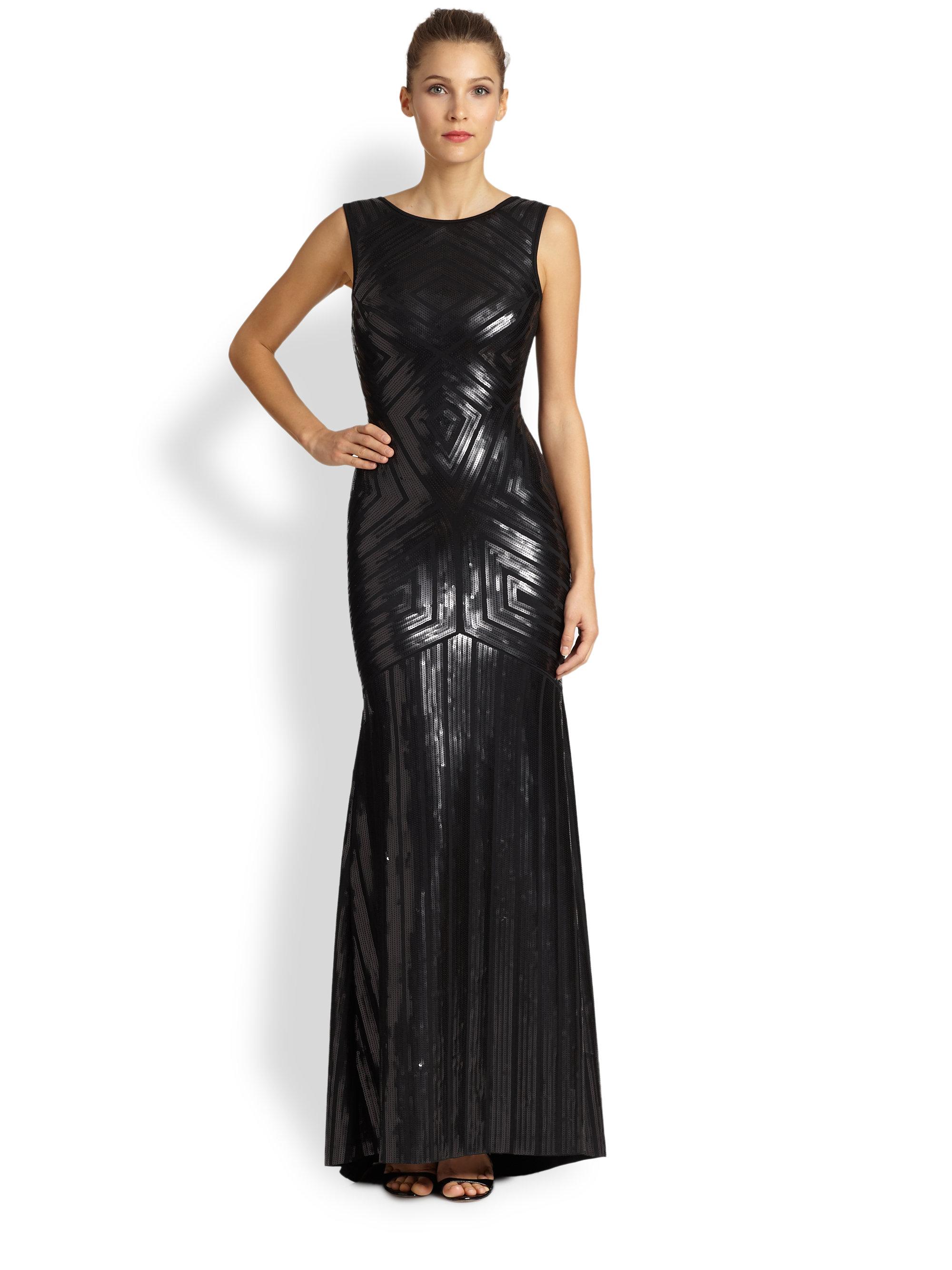 Sequin black dress long