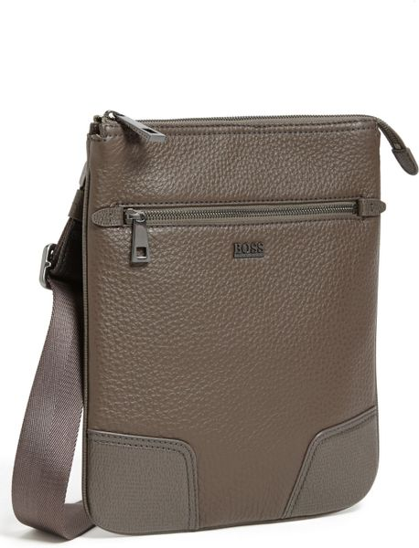 Boss By Hugo Boss Brintico Leather Messenger Bag In Gray