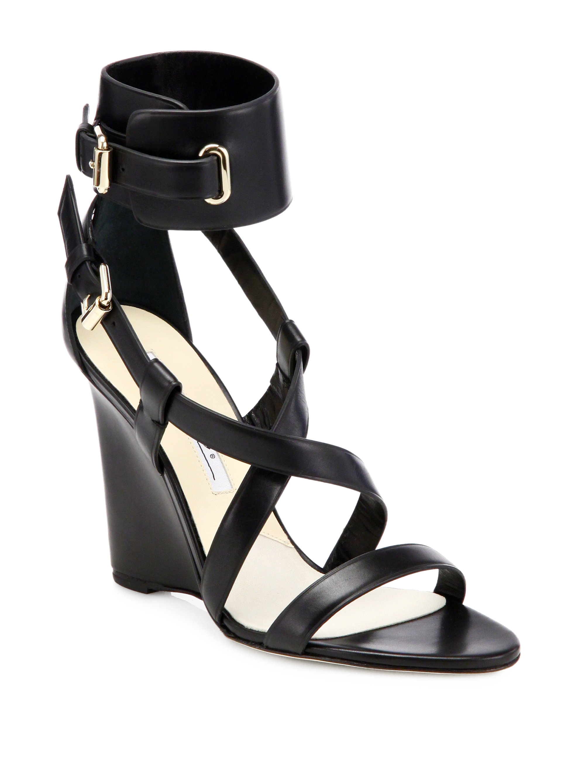brian atwood hegemone leather cuff sandals in black lyst