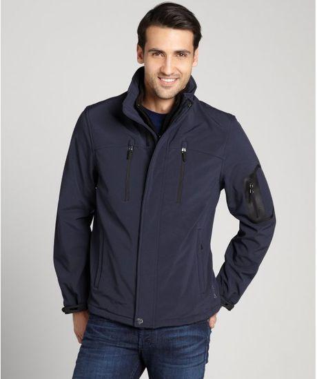 Calvin Klein Navy Blue Zip Up Soft Shell Jacket In Blue