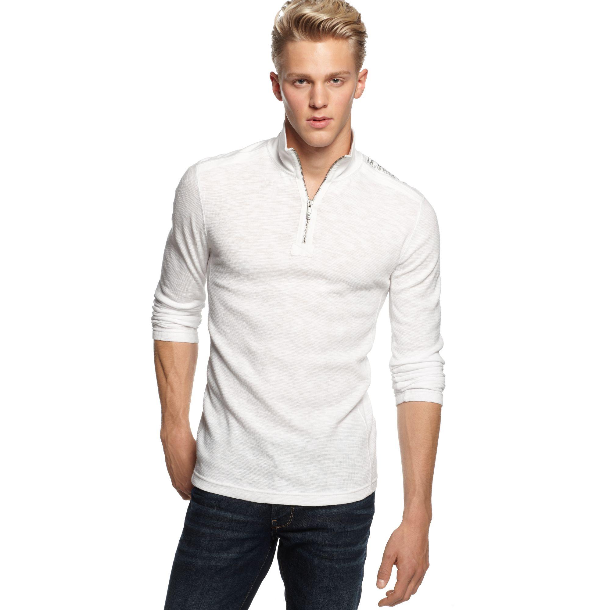 calvin klein jeans quarterzip thermal shirt in white for. Black Bedroom Furniture Sets. Home Design Ideas