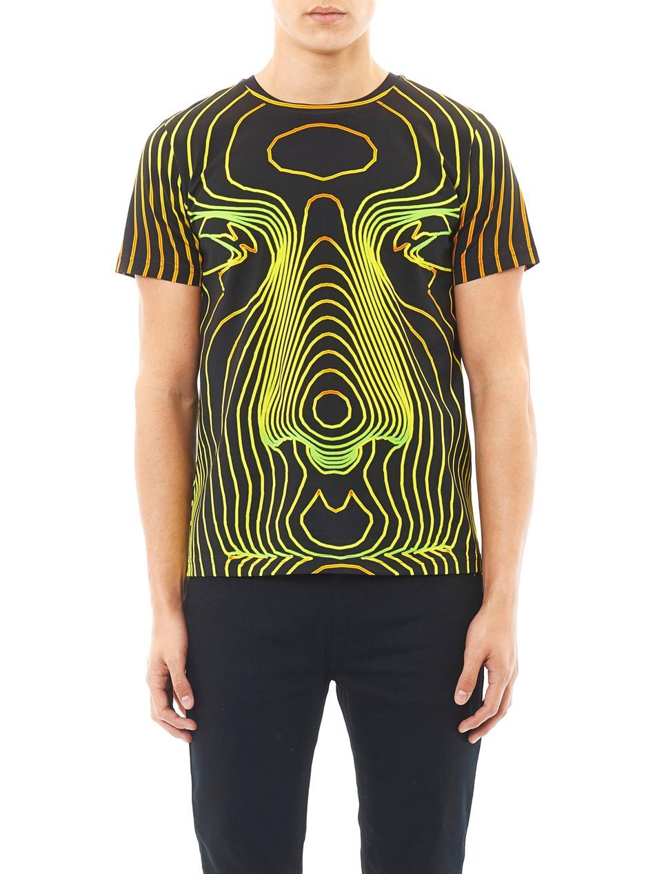 Christopher kane face digital print tshirt in black for for Digital printed t shirts