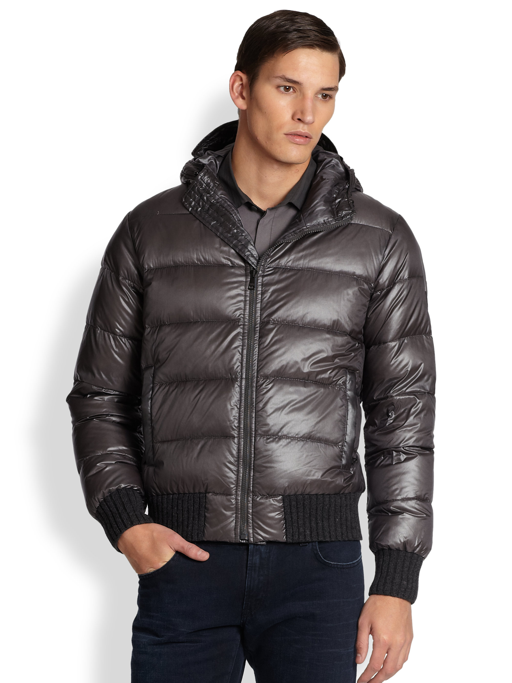 dolce gabbana hooded puffer jacket in gray for men lyst. Black Bedroom Furniture Sets. Home Design Ideas