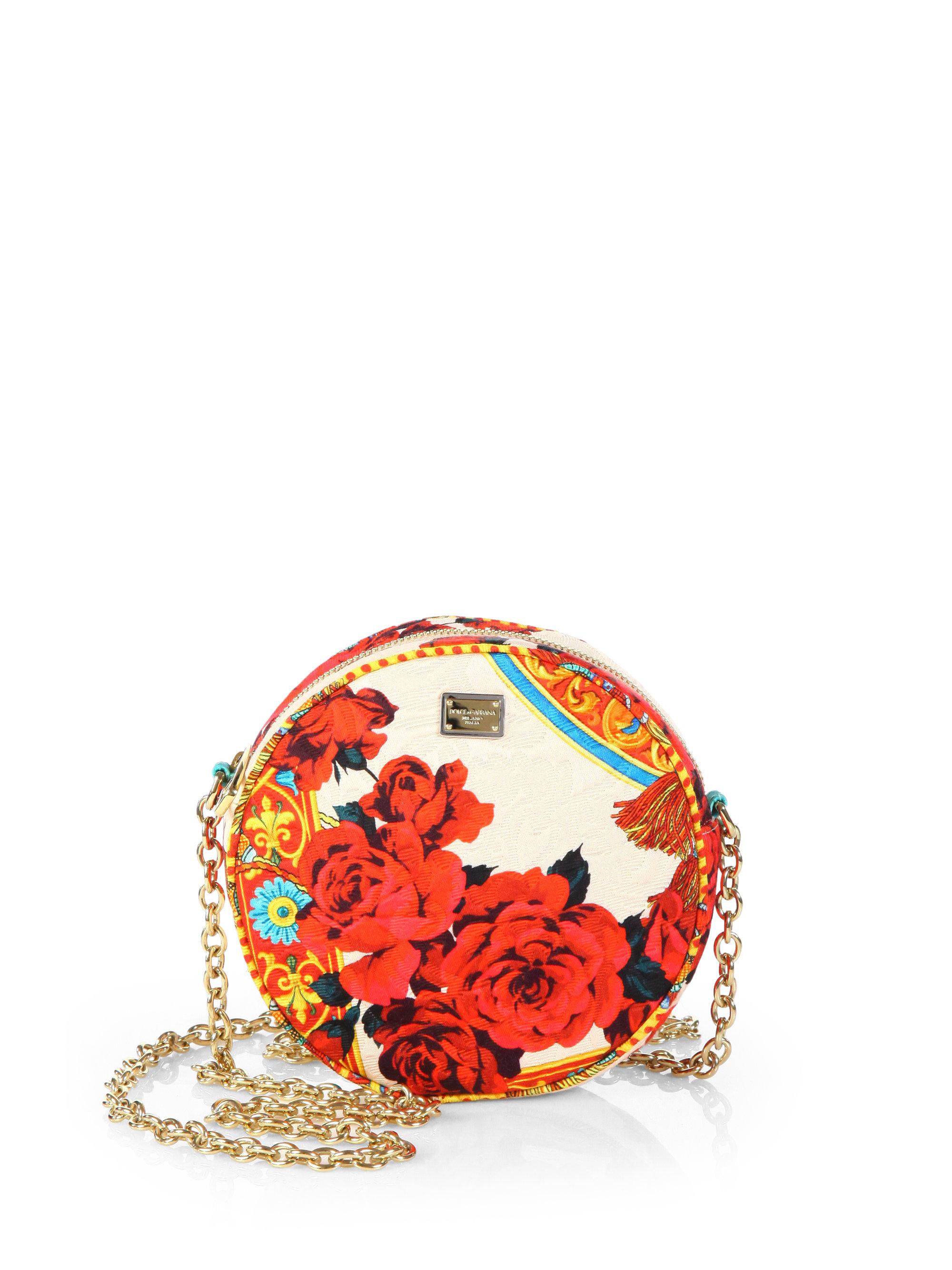 8b8dca6fff9d Lyst - Dolce   Gabbana Miss Glam Printed Brocade Crossbody Bag in Red