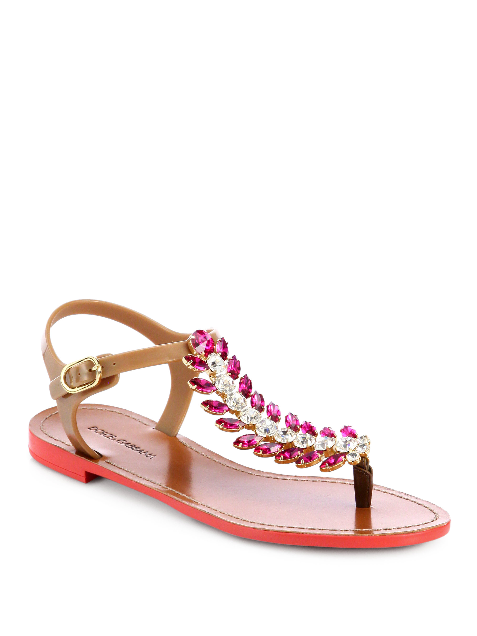 Dolce Amp Gabbana Feather Jeweled Tstrap Sandals In Pink Lyst