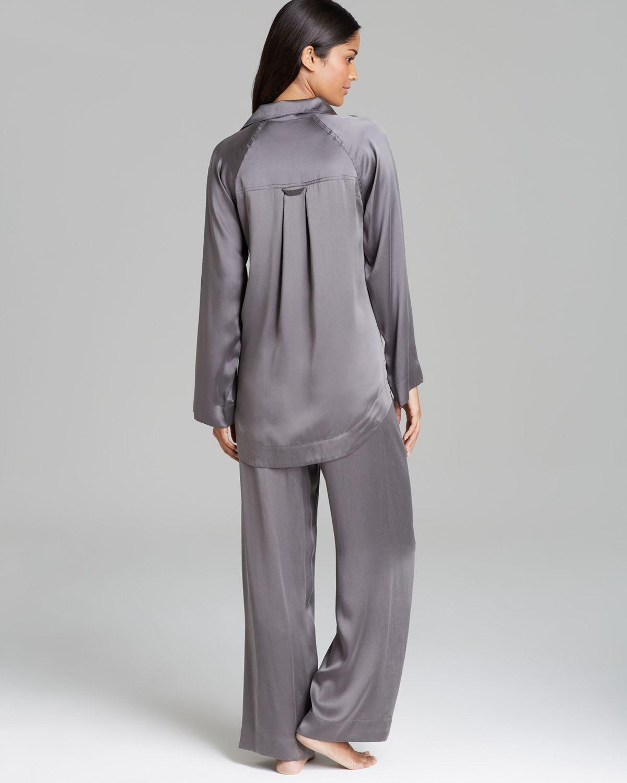 Donna Karan Glamour Silk Pajama Set In Gray Lyst
